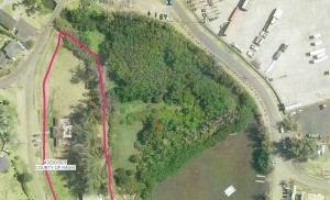 Demonstration site next to the Niumalu Beach Park (outlined)